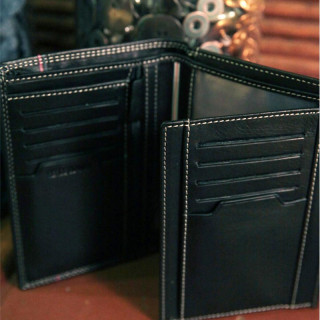 Serge Blanco Vancouver Grand Black Leather Wallet