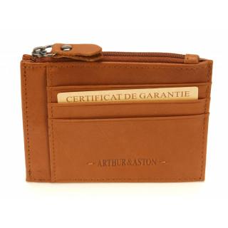 Arthur & Aston Johany Porte Monnaie Cuir Cognac
