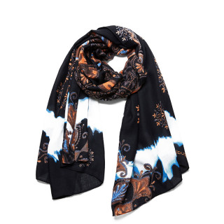 Desigual Stonning Foulard Rectangulaire Mandala Noir