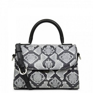 Lancaster Exotic Python Mini Cabas Black Hand Bag