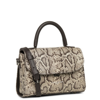 Lancaster Exotic Python Mini Sac Cabas Main Marron