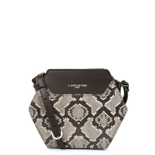Lancaster Exotic Python Crossbody Bag Hexagon Brown