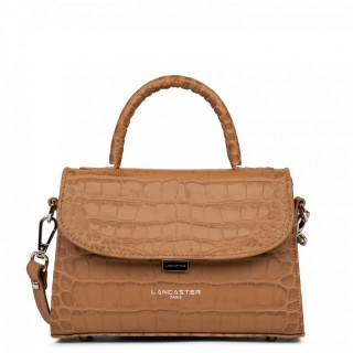 Lancaster Exotic Croco Small Camel Handbag