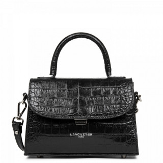Lancaster Exotic Croco Small Black Handbag