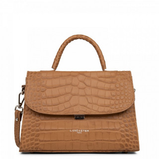 Lancaster Exotic Croco Bag Cabas Main Camel