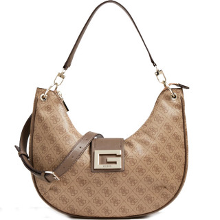 Guess Brightside Maxi Hobo Beige Shoulder Bag