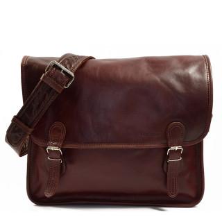 "Paul Marius LaSacoche L Leather Briefcase Laptop 15"" Brown"