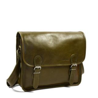 "Paul Marius LaSacoche M Leather Briefcase Laptop13"" Kaki Green"