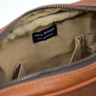 Sacoche homme en cuir Paul Marius naturel - Intérieur