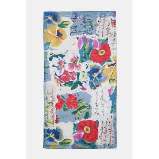 Desigual Art Picture Rectangular Scarf Patch Tropical Light Blue