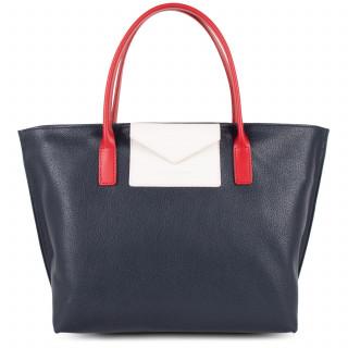 Lancaster Maya Bag Cabas 517-18 Dark Blue-Ecru and Red
