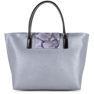 Lancaster Maya Bag Cabas 517-18 Silver Python