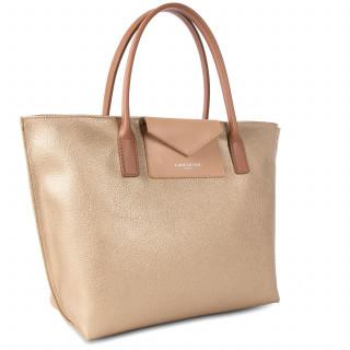 Lancaster Maya Bag Cabas 517-18 Gold Mat-Natural and Camel