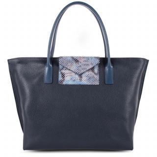 Lancaster Maya Bag Cabas 517-18 Dark Blue and Python
