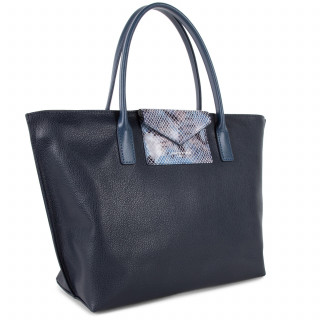 Lancaster Maya Bag Cabas 517-18 Dark Blue and Python