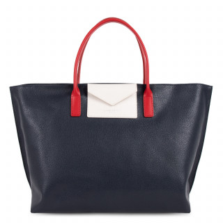 Lancaster Maya Large Bag Cabas 517-19 Dark Blue-Ecru and Red