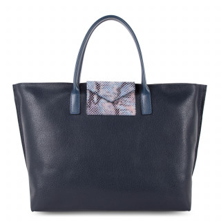 Lancaster Maya Large Bag Cabas 517-19 Dark Blue and Python
