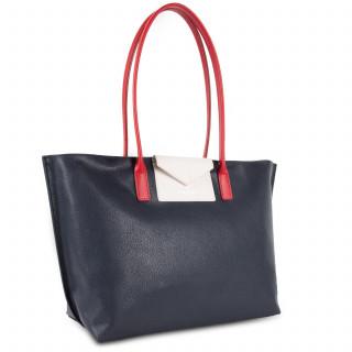 Lancaster Maya Grand Bag Cabas 517-20 Dark Blue-Ecru and Red