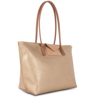 Lancaster Maya Grand Bag Cabas 517-20 Gold Mat-Natural and Camel
