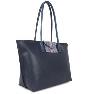Lancaster Maya Grand Bag Cabas 517-20 Dark Blue and Python