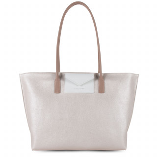 Lancaster Maya Grand Bag Cabas 517-20 Nacre-White and Nude