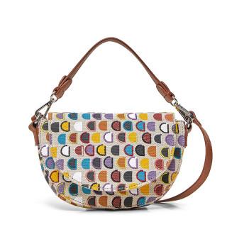 Desigual Dynamic Bag Half-Moon Logo Blanco Lino