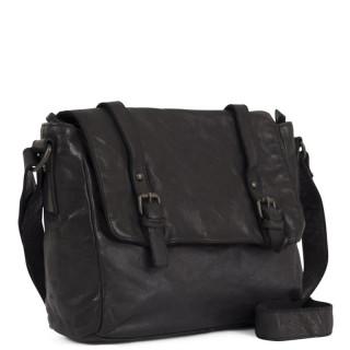Gianni Conti Nero Leather Reporter Bag