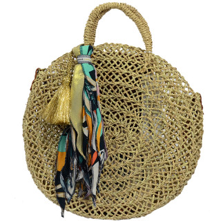 Virginie Darling Panier Pergola Rond Naturel Bleu Lagon