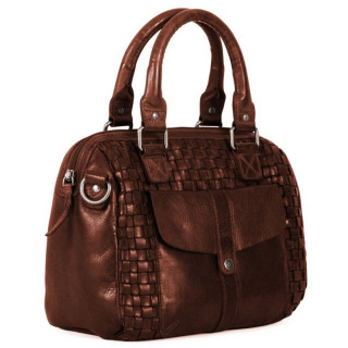 Gianni Conti Bowling Bag Braided Leather Cognac