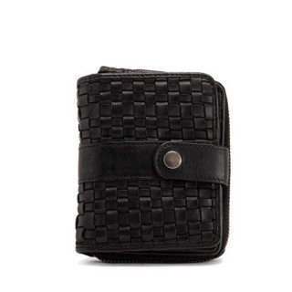 Gianni Conti Wallet Braided Leather Dos A Dos Nero
